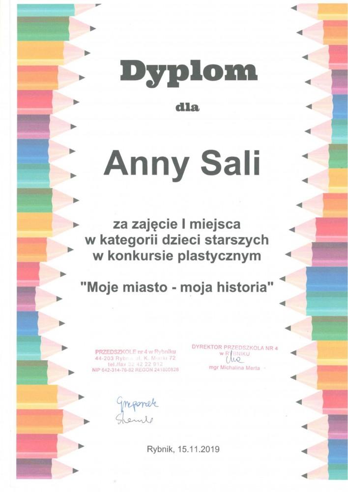 Dyplom dla Ani